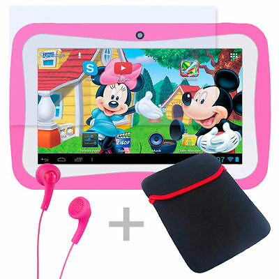 Lerncomputer inkl. 30 Spiel-Bildung-Apps Kinder Tablet PC Android 5.1 WiFi Pink