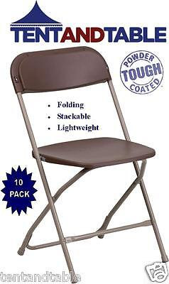 10 Brown Stacking Chairs Easy Storage Wedding Day Party Holiday Folding Chair