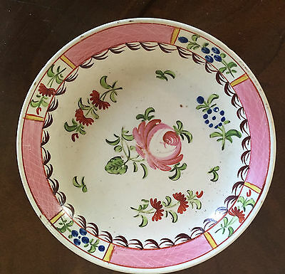 Antique English Creamware Pearlware Saucer King's Rose Plate 18th 19th c. 1800
