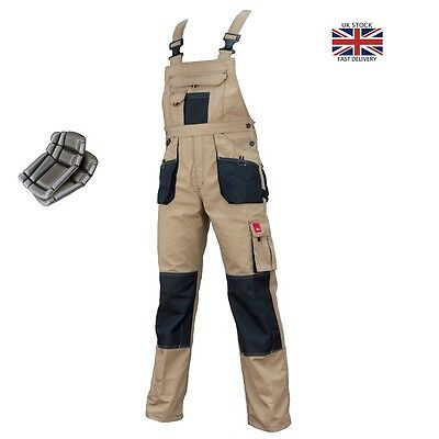 Bib and Brace Beige Mens Work Trousers Pants Knee Pad Multi Pocket WITH KNEEPADS
