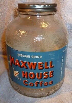 Vintage Maxwell House Coffee 1 lb Jar With Label 1940s Regular Grind