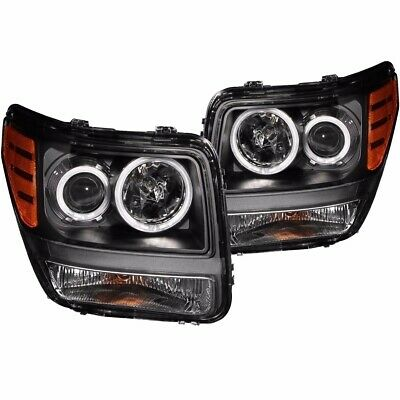 For 2007-2012 DODGE NITRO PROJECTOR HALO HEADLIGHTS BLACK CLEAR (CCFL) PAIR