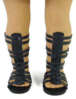 "BLACK GLADIATOR SANDALS for 18"" American Girl Doll Clothes"