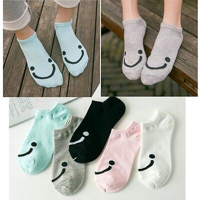 1-5 Pairs Smile Face Women Girls Cotton Summer Ankle High Low Cut Boat Socks