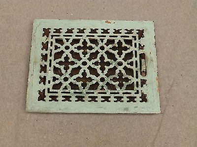 Antique Gothic Cast Iron Heat Grate Register Vent Old Vintage Hardware 628-16