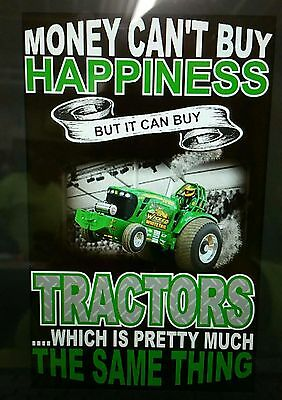 "new ""money cant buy happiness""  John Deere tractor pulling t-shirt"