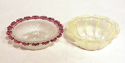 Vintage Frilled Lip Bowls – Lemon yellow and Mauve