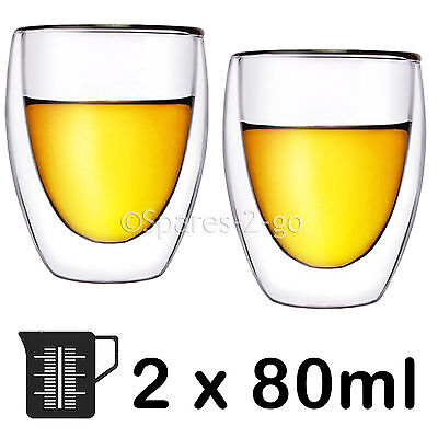 Double Walled Thermal Whiskey Malt Glass Shot Tumbler Cocktail Glasses 80ml x 2