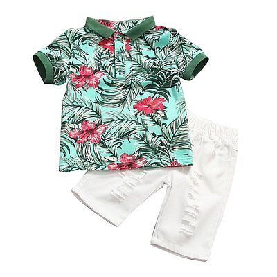 2pcs Toddler Kids Baby Boys Summer Floral T-shirt Tops+Pants Outfits Clothes Set