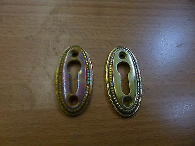 Two Brass Keyhole Covers with screws
