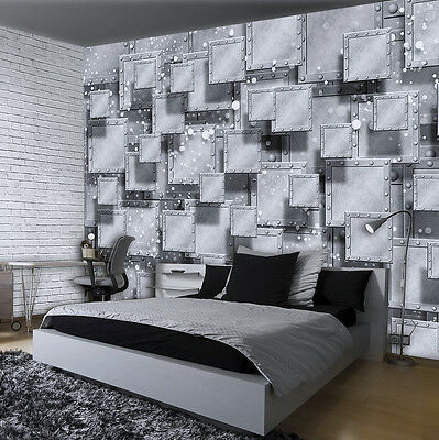 poster tapete fototapete wandbild grau wand ziegel 3d geometrie kunst 3029 p8 eur 39 90. Black Bedroom Furniture Sets. Home Design Ideas