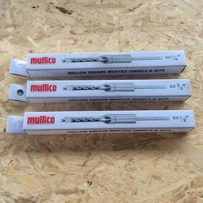 "Multico White Box 1/4""+3/8""+1/2"" Morticer Chisels & Bits  3/4"" Shank"