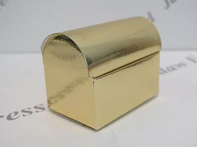 10 x Gold Mirror Cardboard Chest Gift Favour Boxes W70mm x H55mm x D45mm AM562