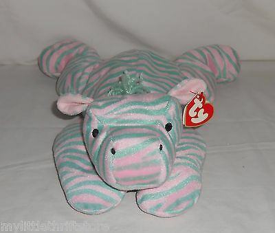 """1996 Retired TY Plush Pillow Pal Green and Pink Zebra """"Zulu"""" with Tags"""