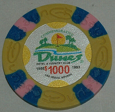DUNES Casino 5x$1000 Commemorative Chip, Las Vegas, NV. Uncirculated. Obsoleted