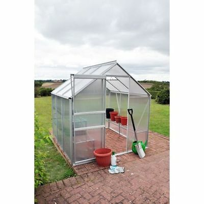 6 X 6 Aluminium Greenhouse with Base Frame & Staging Polycarbonate Windows