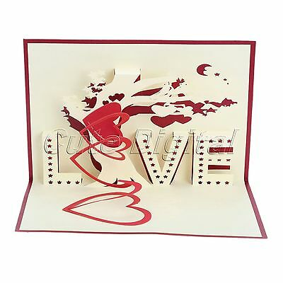 3D Pop Up Greeting Card Love Tree Happy Valentine Birthday Anniversary Thank You