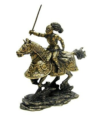 """10.5"""" Medieval Armored Knight & Horse w/ Sword Statue Figurine Battle"""