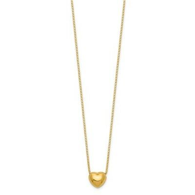 "14k Yellow Gold 16"" Chain with Puffed Heart Charm Necklace"
