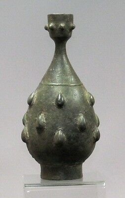 Early Islamic Decorated Bronze Bottle, Early Abbasid Period, 8/9th Century C.E.