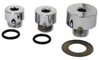 Oil Pump Plug Kit, Chrome For Big Twin Shovels 1970-1980