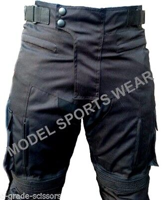 Mens Waterproof Cordura Textile Motorcycle Motorbike Trousers Pants Armour Black