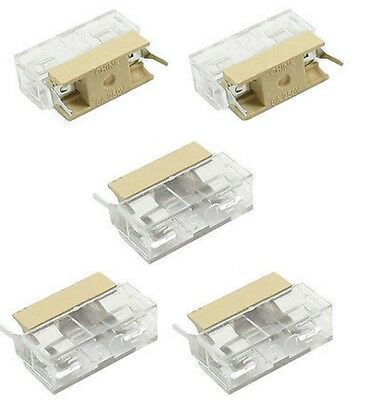5PCS Panel Mount PCB Fuse Case Holder With Cover For 5x20mm Fuse 250V 6A