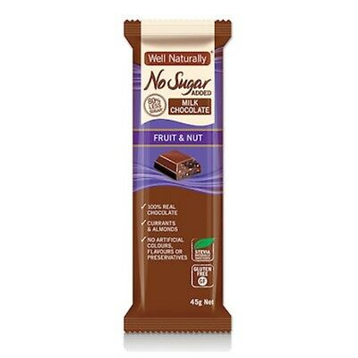 Well Naturally Chocolate NO Added Sugar - Fruit & Nut 45g x16