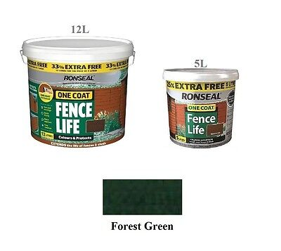 Ronseal One Coat Fence Life Shed & Fence Paint - Forest Green -2 Sizes Available