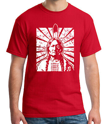 Sitting Bull Adult's T-shirt Vintage Indian Tribal Chief Tee for Men - 1359C