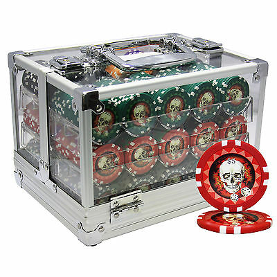 600 13.5G Skull Poker Chips Set Acrylic Case Custom Build
