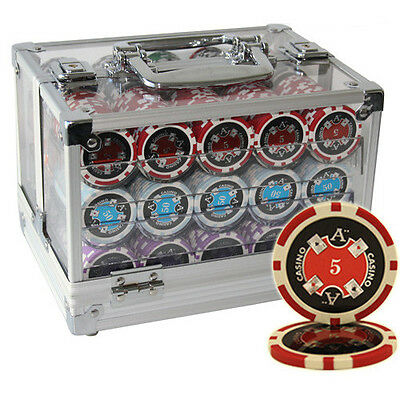 600 14G Ace Casino Clay Poker Chips Set Acrylic Case Custom Build