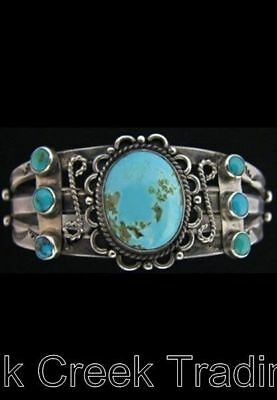 INCREDIBLE MUSEUM QUALITY Vintage NAVAJO Turquoise FRED HARVEY BRACELET Ca.1940s