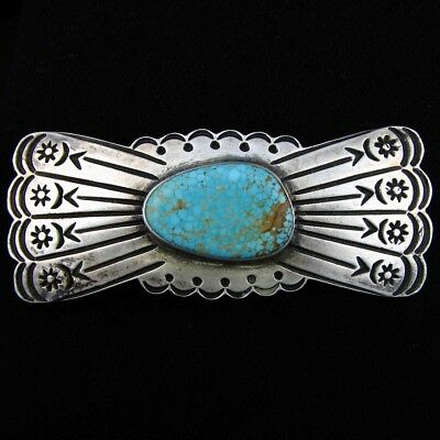 Vintage NAVAJO PIN Fred Harvey style, Kingman Turquoise Sterling Silver