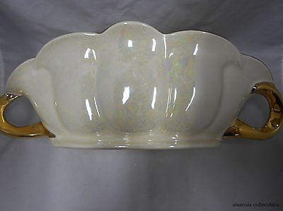 Vintage Pearl China Company Iridescent Pearl Bowl Handled 22K Gold Trim