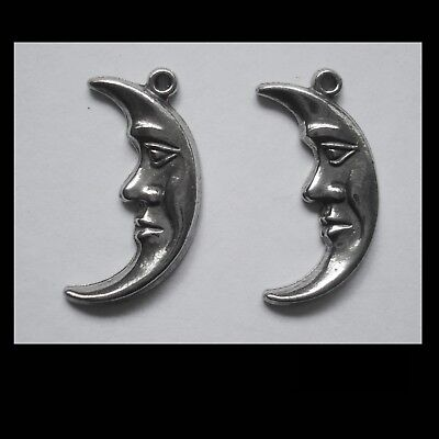 PEWTER CHARM #2307 HALF MOON x 2 (23mm x 13mm) 1 bail