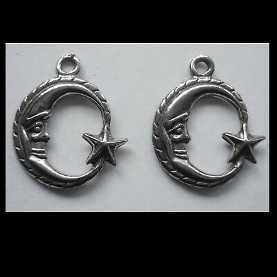 PEWTER CHARM #2310 x 2 MOON & STAR (19mm x 16mm) 1 bail DOUBLE SIDED