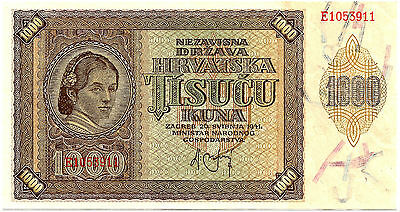 Yugoslavia/Croatia WWII Occupation Issue P 4 1941 1000 Kuna