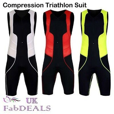 Compression Triathlon Suit Tri Short Cycling Running Swimming Padded Men