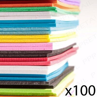 LARGE PACK OF 100 A5 FOAM CRAFT SHEETS Assorted Colours Card Making/Scrapbooking