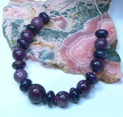 NATURAL UNTREATED AFRICAN PURPLE SUGILITE RONDELLE ROUND BEADS 19pc SET STRAND
