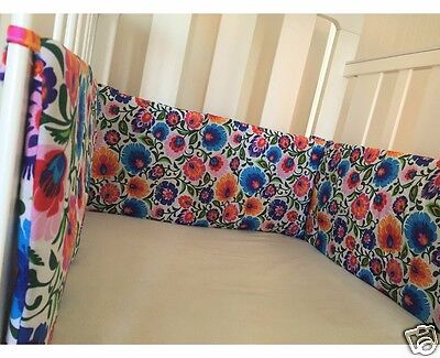 Gooseberry Baby Cot Crib Bumper Cotton Padded Folk Flowers 210 x 30 cm