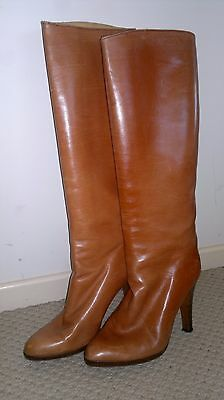 Vintage Boots-Tan-Full Leather-Size 8-Pull On-Boots-Women's-Knee Boots-39