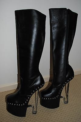 Pleaser-7-Platform Boots-NEW-LEATHER-Sexy-Mistress-Fetish-Black Boots-Costume