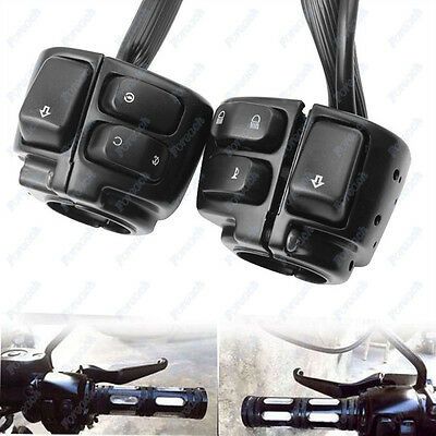 """Pair Motorcycle Bike 1"""" Handlebar Control Switches+Wiring Harness For Harley 12V"""