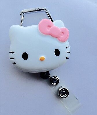 "Hello Kitty 45mm / 1.9"" Carabiner Retractable Reel ID Badge Holder_Pink Bow 1pc"
