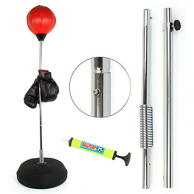 Punch Height Bag Ball And Mitts Gloves Kit Boxing Set For Adult Free Standing