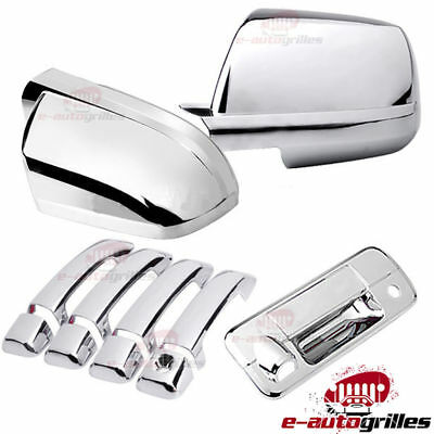 Chrome 4Door Handle+Tailgate W/Camera Hole+Mirror Cover for 07-13Tundra Crew Cab