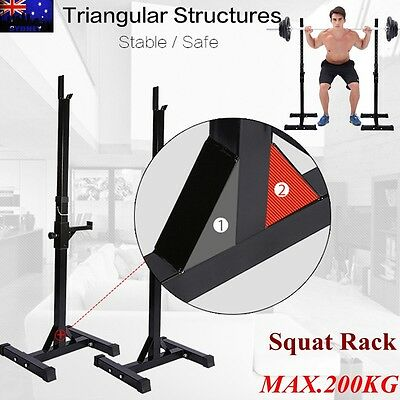 2x Squat Rack Stand Bench Press Weight Lifting Barbell Fitness Gym Adjust AU New