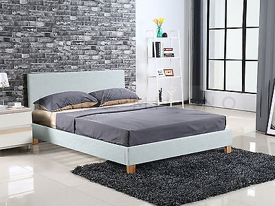 New QUEEN Size Bed Frame Luxury Platinum Grey Fabric White/Black Leather PU